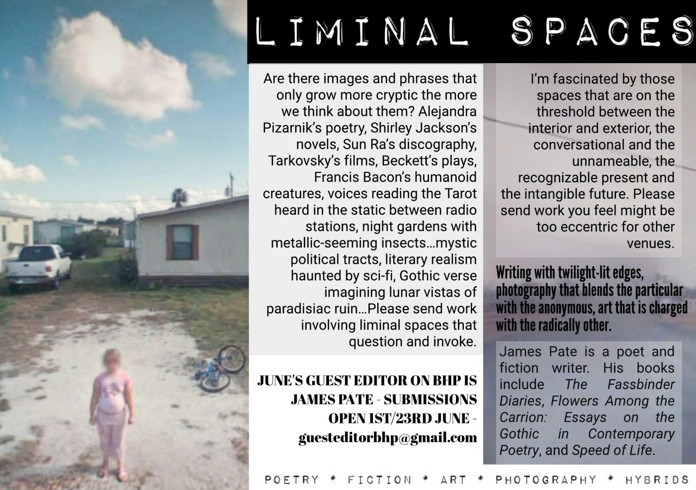 Guest Editor For June Is James Pate!!! Theme is: LIMINAL