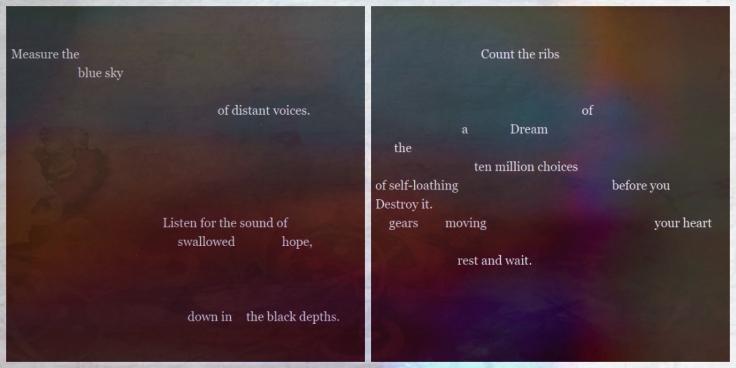 shloka-swallowed hope - an erasure diptych